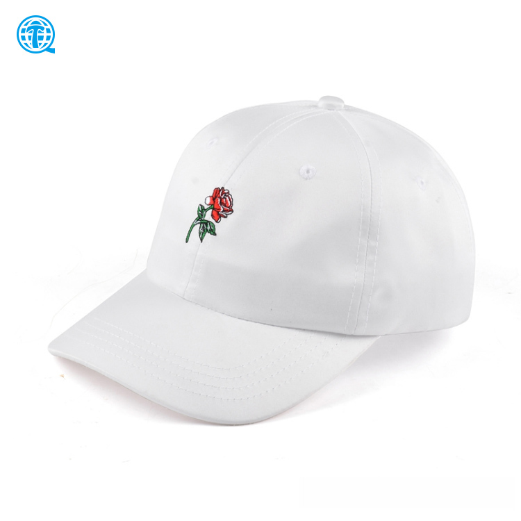 High quality rose stitch logo 6 panel wholesale satin dad hat white, satin baseball cap embroidery with metal buckle
