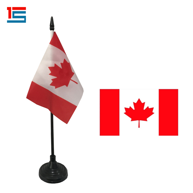 CANADA flag custom color promotion desk flag with plastic stan pen table flags