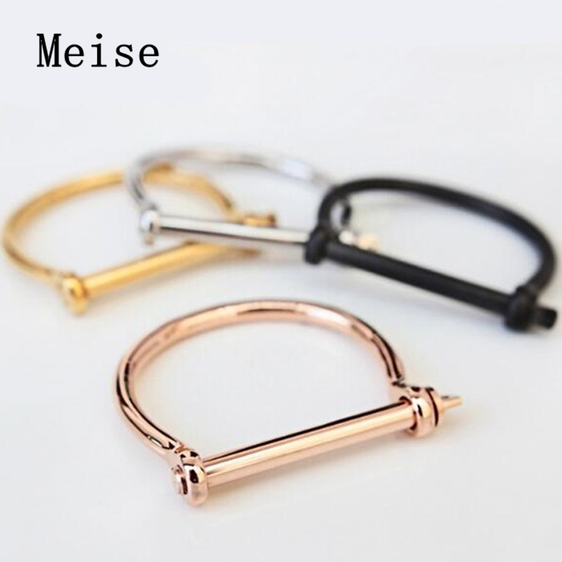 Yiwu Meise Stainless Steel D Shape Bar Screw Shackle Horseshoe Novelty Fashion Bangle, Unisex