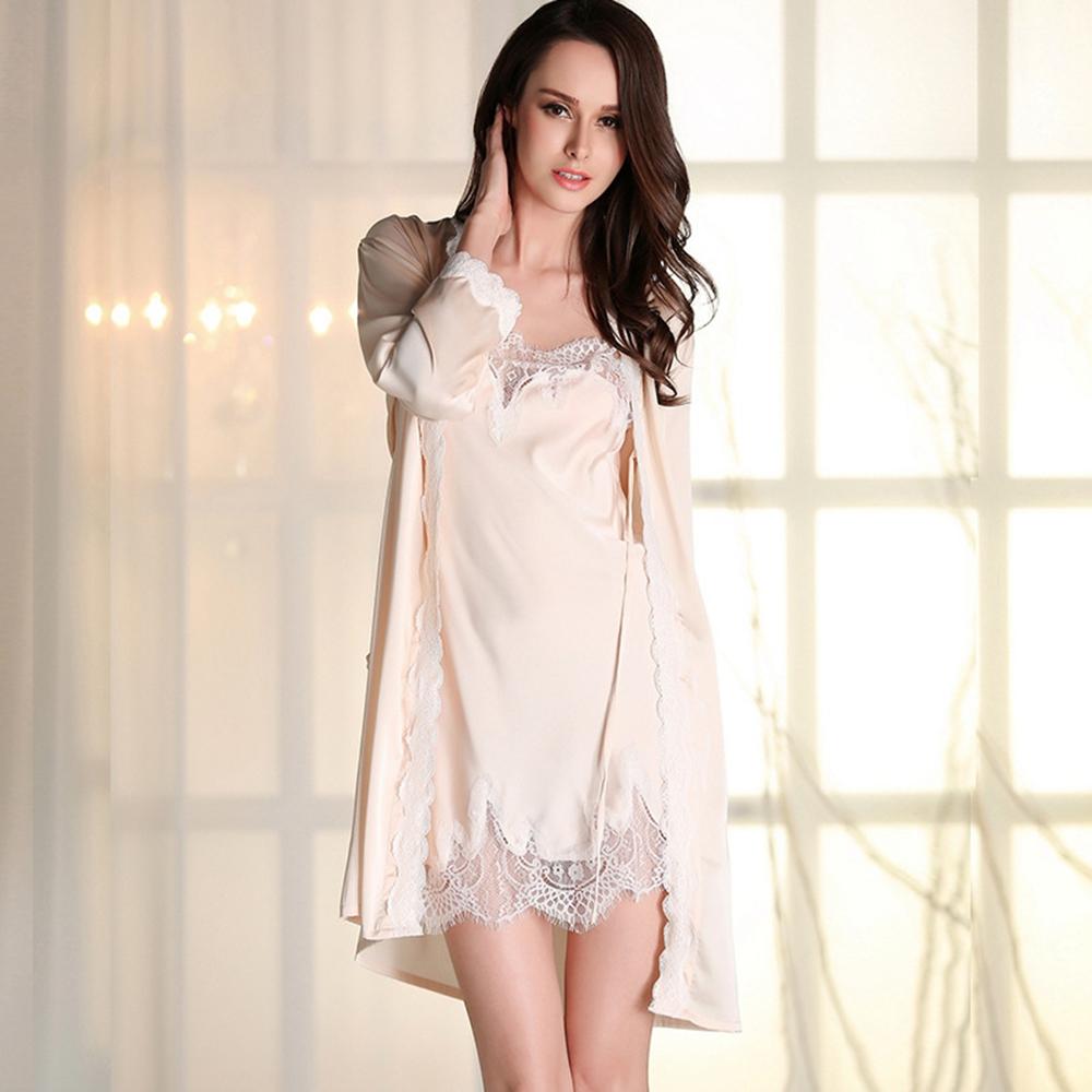 aa4f4245f6 Wholesale Silk Robes Gown Sets Sexy Lace Women Sleepwear Pajamas ...