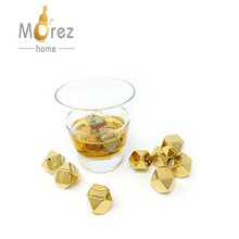 Morez High quality Whiskey Stones Gold Stainless Steel Diamond Shaped Ice Cubes