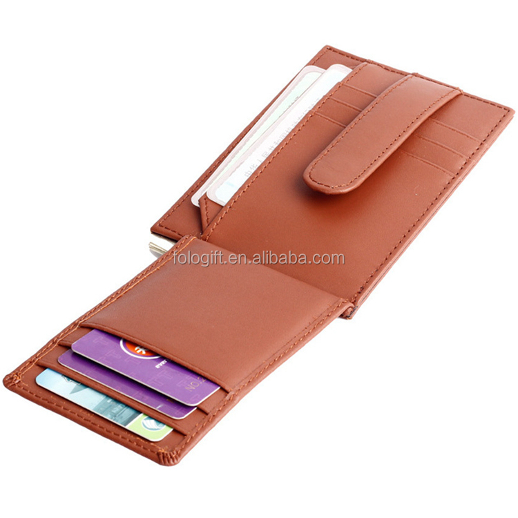Rfid blocking genuine brown leather credit card holder wallet for men