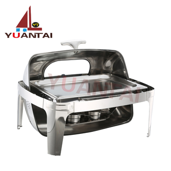 High quality buffet equipment buffet chfing dish warmers Straight feet full clamshell visible square buffet