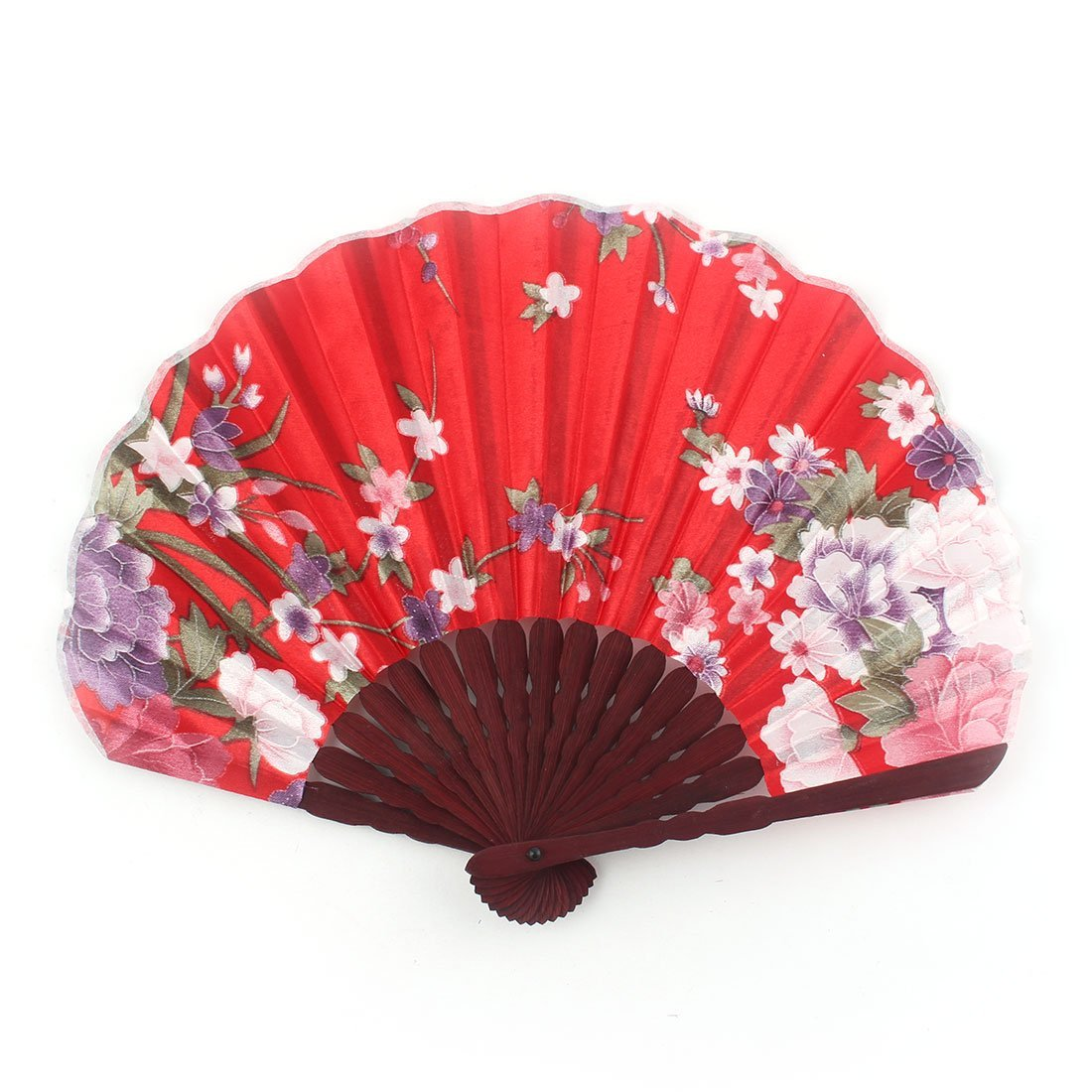 uxcell Peony Blossom Printed Ladies Summer Hand-held Folding Dancing Hand Fan Craft