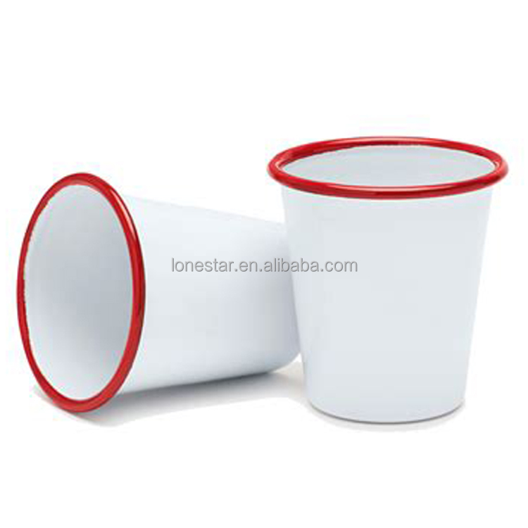 Best selling custom colored rim enamel tumbler camping mug with decal print