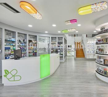 Decorare Armadio A Muro.Negozio Di Farmacia Unica Decorazione Di Interni Di Design Con Led Illuminato Espositore In Legno Mobili Buy Painted Mdf Armadio A Muro Per La