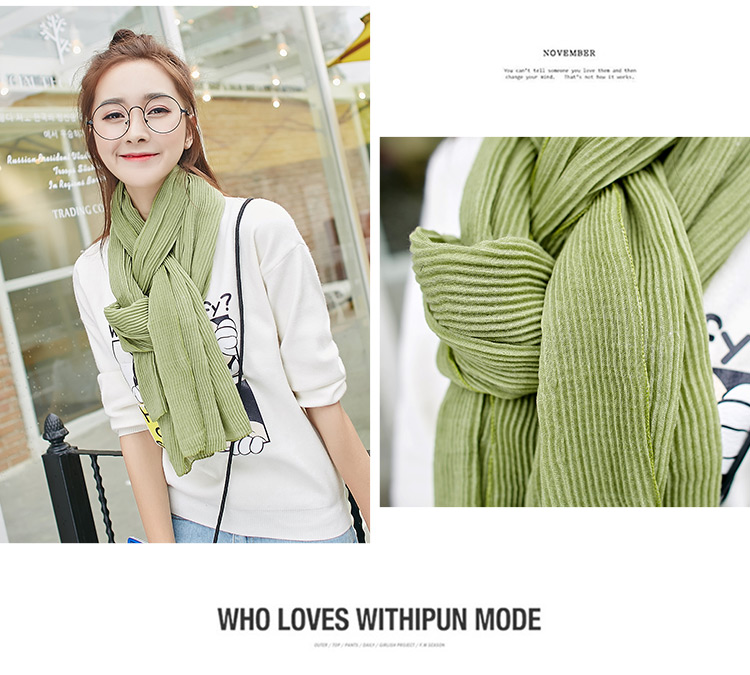 New Trendy High Quality Solid Color Wrinkle Striped Crinkle Cotton Scarf Hijab