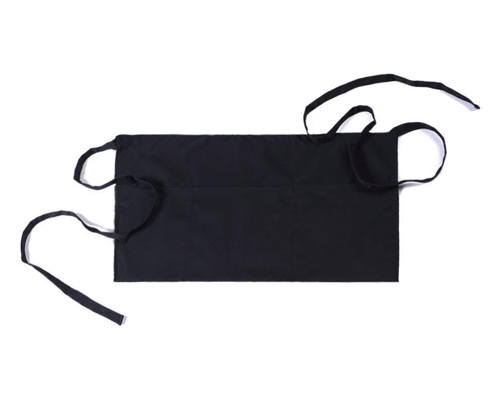 "CLOCOR 3 Pockets Waist Apron 24""x12"" - Half Apron for Chef Server Waiter Waitress (1 Pack)"