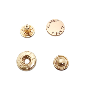 Low MOQ OME brand logo engraved gold snap button for clothes