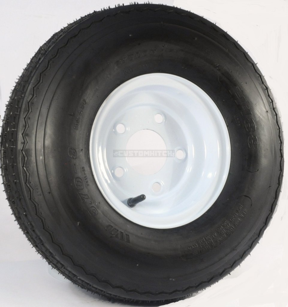"eCustomRim Trailer Tire + Rim 5.70-8 570-8 5.70 X 8 8"" LRB 5 Lug Hole Bolt White Wheel"