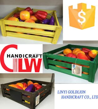 Golidlion Handicraft Natural Wood Box Fruit Crate Wooden Vegetable