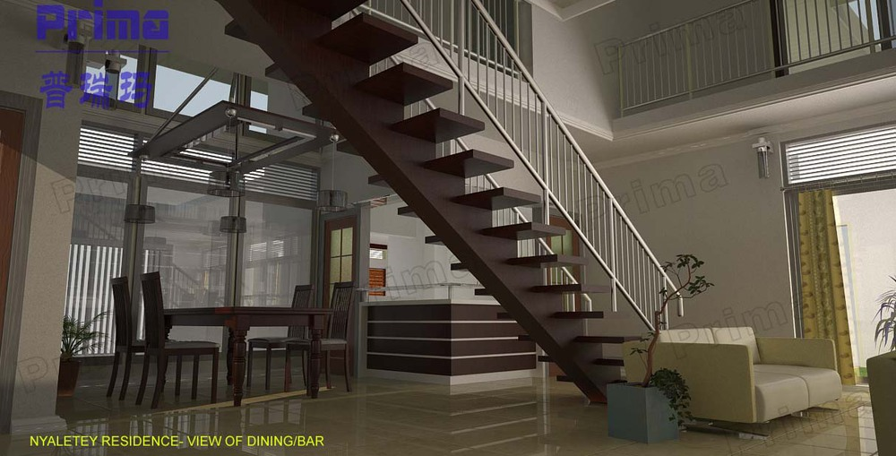 timber tread rod bar railing stairs /indoor stairs wood prices