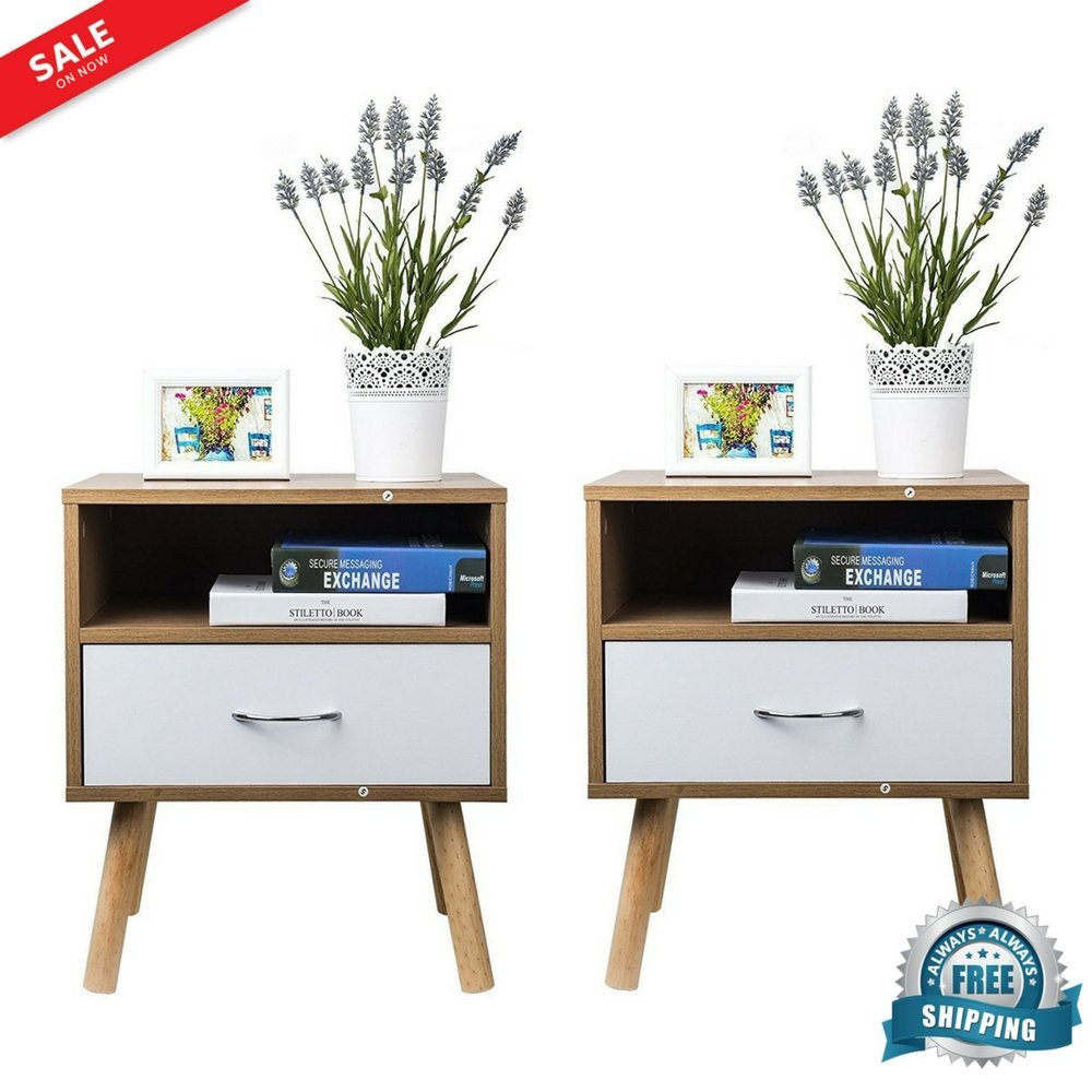 Nightstands Pair Bedside End Table Organizer Wood Bedroom with Drawer & Display Self Storage Bedside Cabinet Versatile Mid-Century Style Home Furniture Set of 2 & eBook by BADA shop