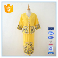 Latest Long Dress And Jacket Designs Yellow Ladies Embroidery Suit Wholesale