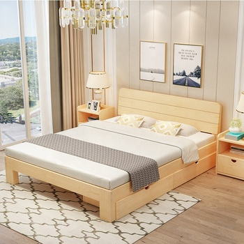 Direct sale of cheap wood bed bedroom furniture double bed flat wooden bed frame