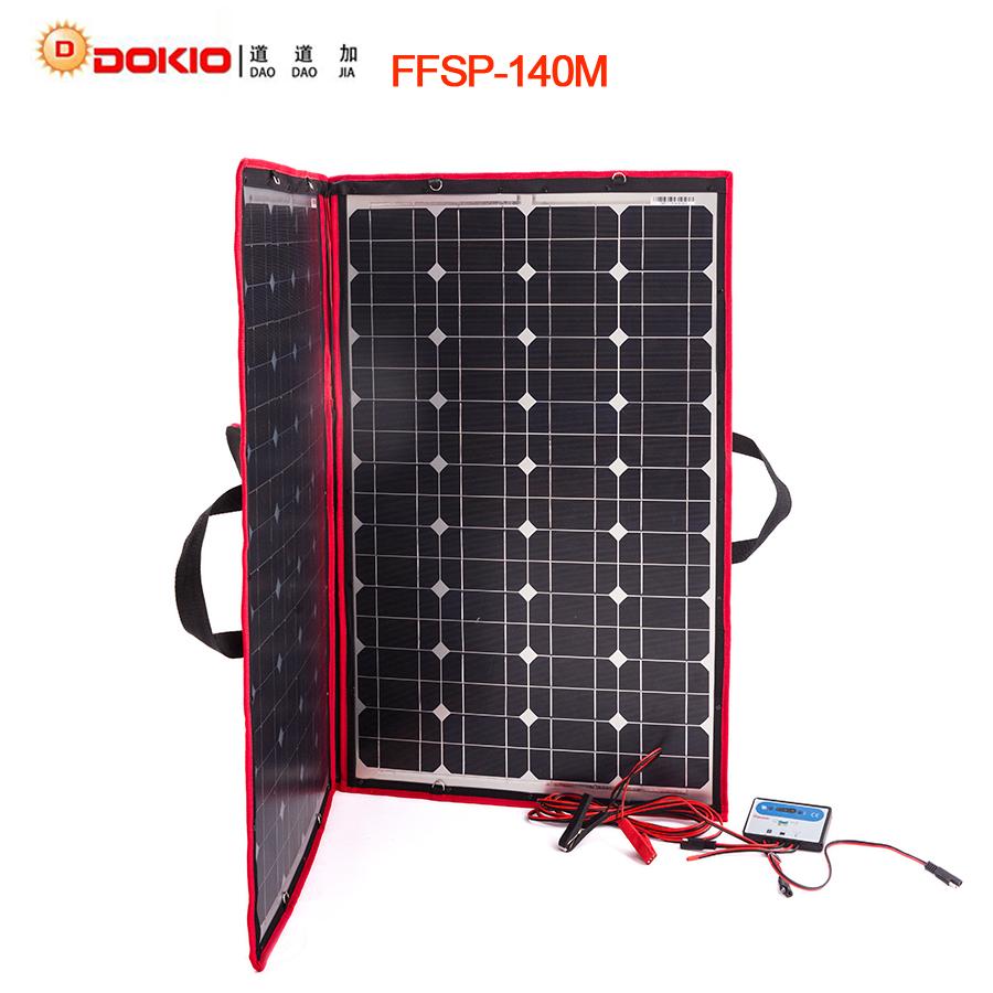Dokio 100w 120w 140w 70wx2pcs 18v Flexible Black Solar