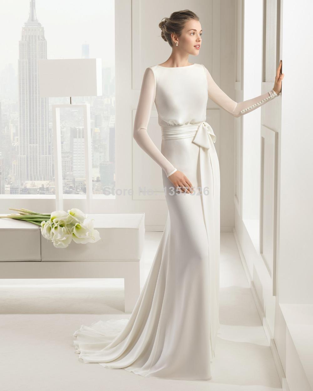 Latest Design Long Sleeve Bridal Gowns 2015 Sheath Chiffon
