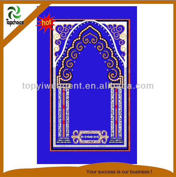 New Small Colorful Embroidered Masjid Design Kids Toddler Prayer Rug Mat Islamic