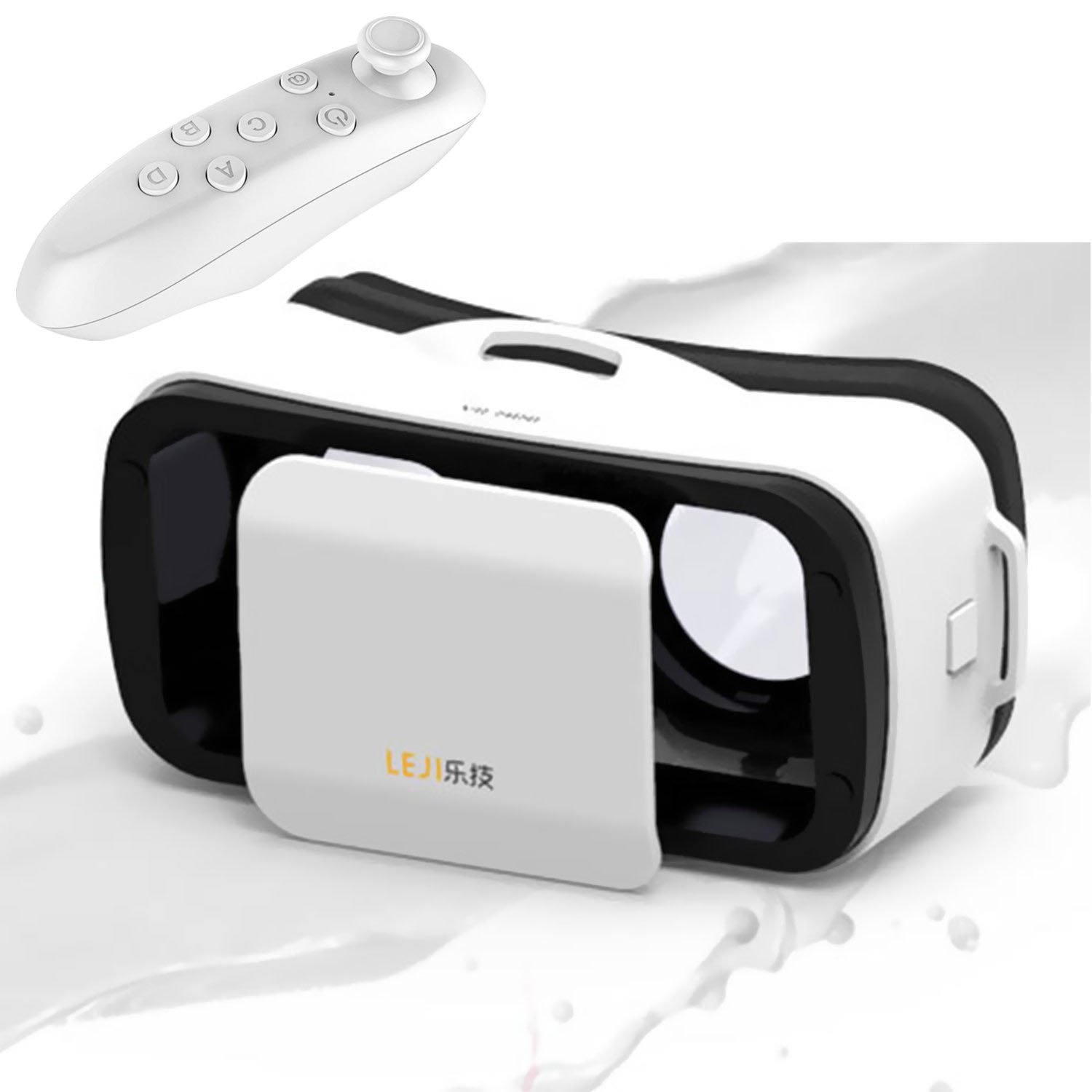 "Mini 3D VR Glasses/Headset, Tsanglight Virtual Reality Headset + Remote Controller for IOS iPhone 7/6/6S Plus, Android Samsung Galaxy S7 Edge S7/6 /J7/A5/A3 2016 & Other 4.5-5.5"" Cellphone - White"