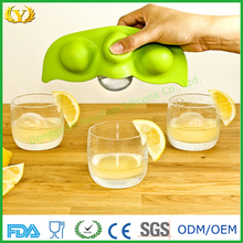 2017 novelty 3 caves pea shape silicone ice cream cube tray