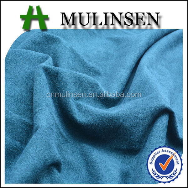 Mulinsen Textile Soft Handle Plain Dyed Weft Knitting Polyester Stretch Elephant Skin Suede Fabric for Garment