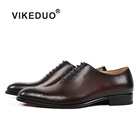 VIKEDUO China 손 Made 푸른 녹 디자이너 Shoes Men 유명 Brands Brogues 옥스포드 Red Sole Men Dress Shoes