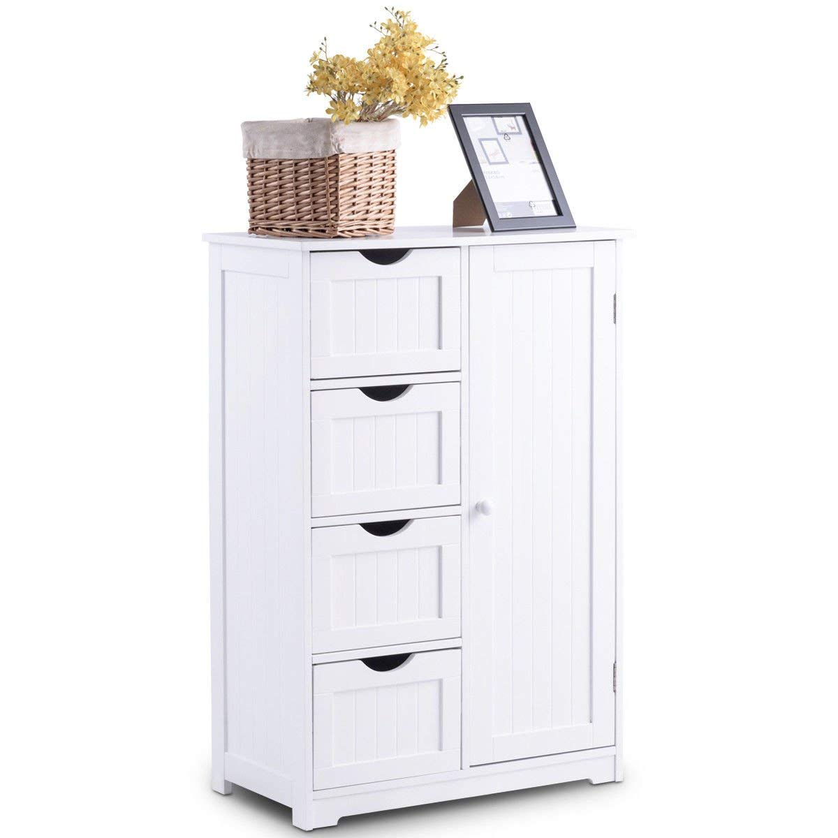 Get Quotations Wooden Bathroom Floor Cabinet Storage Cupboard 2 Shelves Free Standing 4 Drawer