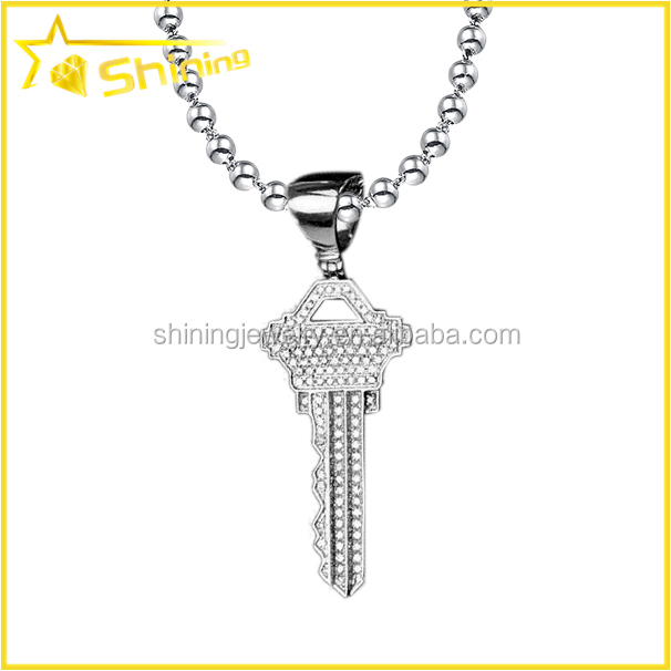 Stylish ice out full cz micro pave hiphop key pendant