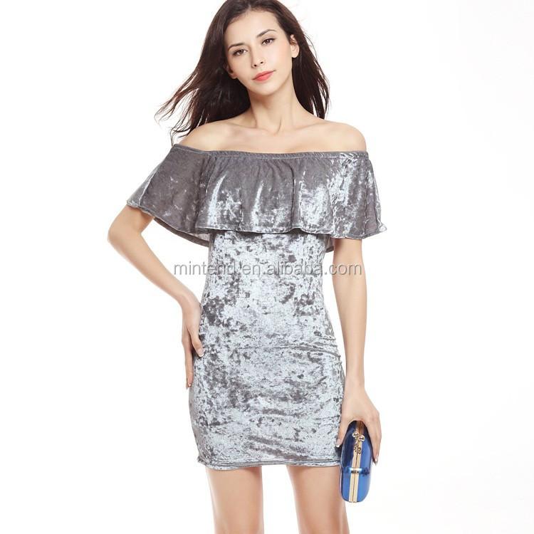 25ff0d17b0 El Último Diseño De Moda De Terciopelo De Las Mujeres Corto Vestidos ...