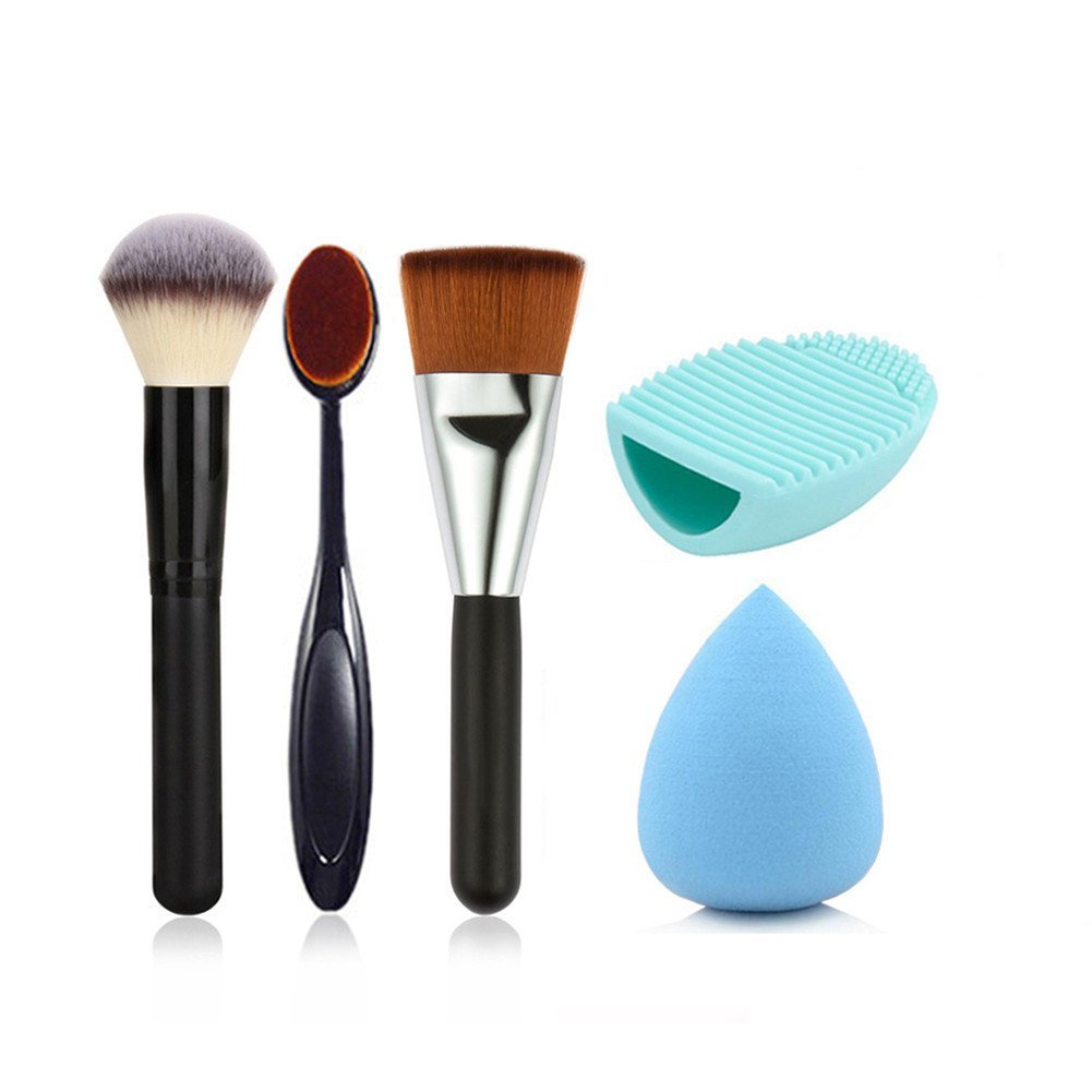 Redcolourful Makeup Brush Tools Set 3 Makeup Brushes 1 Makeup Brush Cleaning Egg 1 Sponge Puff(4#)