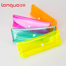 Languo simple cute colorful transparent school pencil case for wholesale