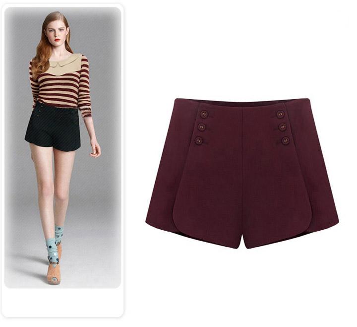 7748c3a3db7bc Get Quotations · Women Woolen Shorts 2015 Autumn Winter High Waist Casual Shorts  Plus Size Button Design Boot Cut