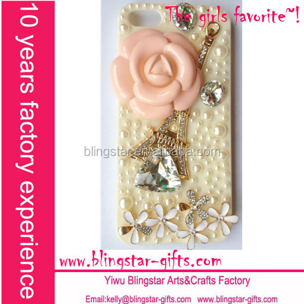 pink rose eiffel tower bling cell phone covers