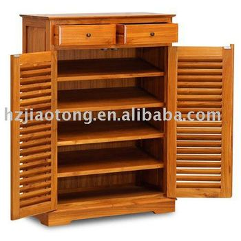 2 Drawers Louvered Door Solid Wood Shoe Cabinet