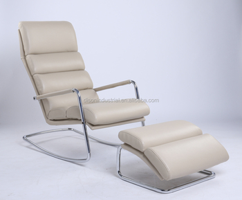 Chrome Base And Cream Bonded Leather Chaise Lounge Chair Ottoman