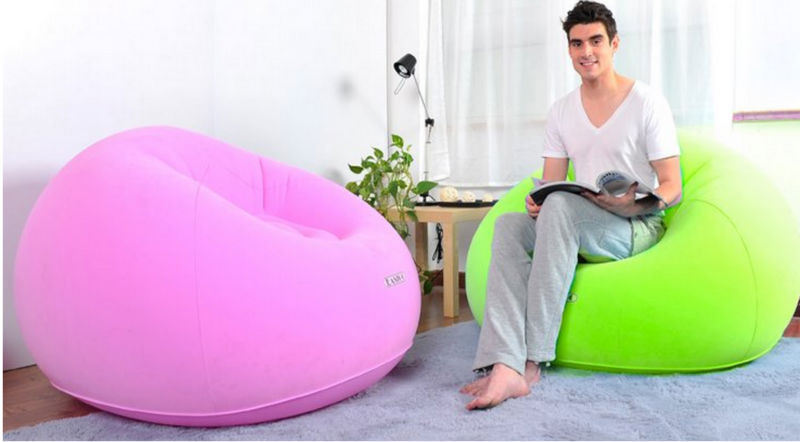 Round Single Soft Air Sofa Inflatable Bed For Relax Pink Chair Deluxe Product On Alibaba