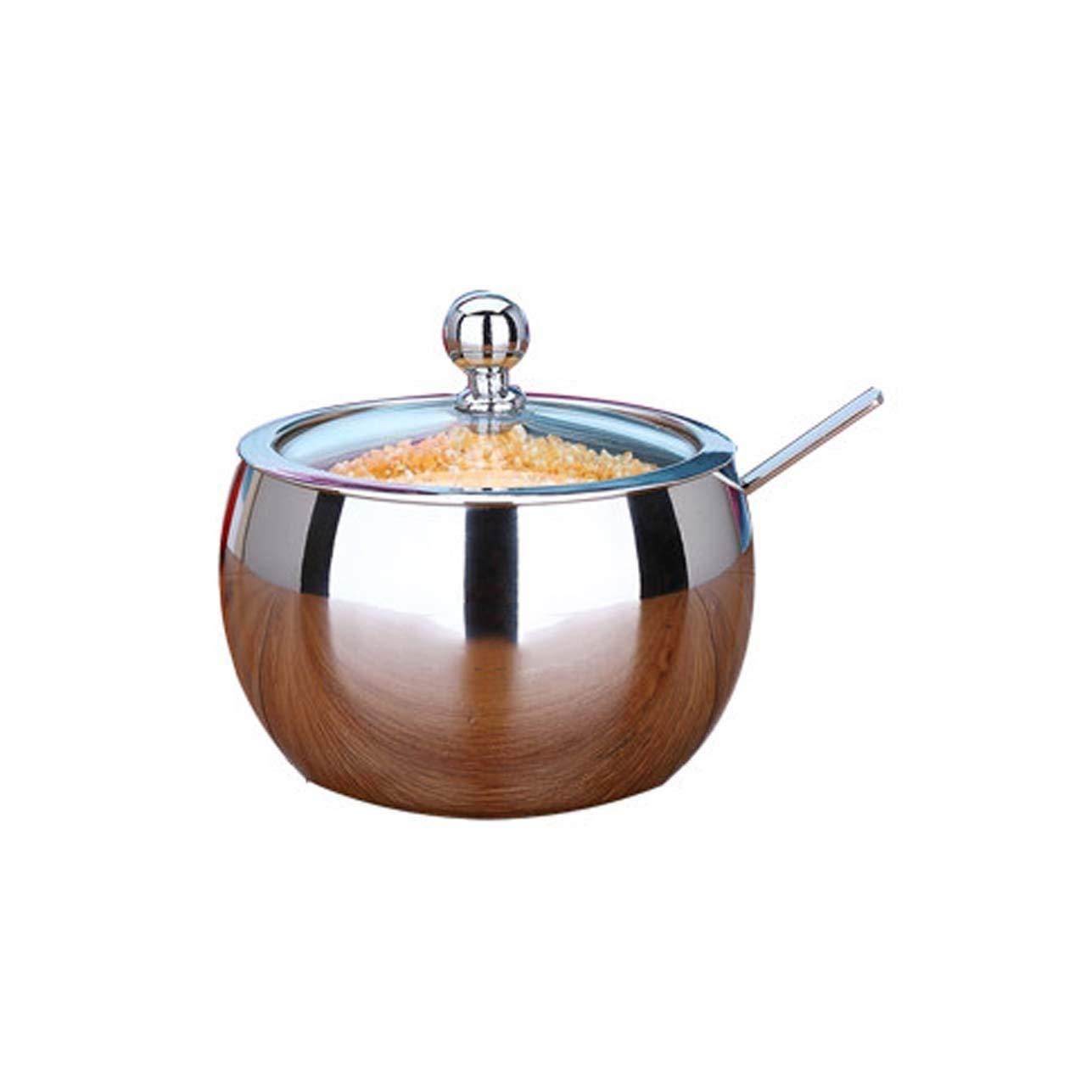 HLL Seasoning Bottle 304 Stainless Steel Seasoning Cans, European Seasoning Box Set, Glass Sugar Cans, Home Seasoning Pot Sets, Kitchen Utensils 1 Assembly