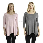 Ladies Tunic Top Wholesale Women's 3/4 Sleeve Loose Fit Square Hem Tunics Tunic for Women