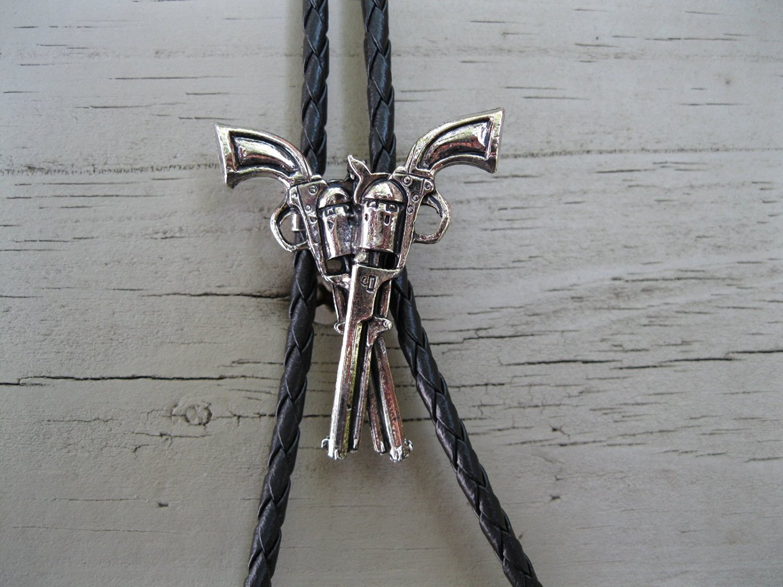 Cowboy Western Bolo Tie #45 - Crossed Guns - Pewter