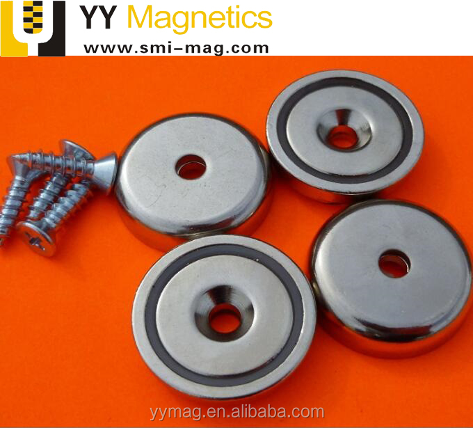 "Neodymium Cup Magnets 150 lbs Pull 70kg 1.57"" Dia 40mm Screw Included"