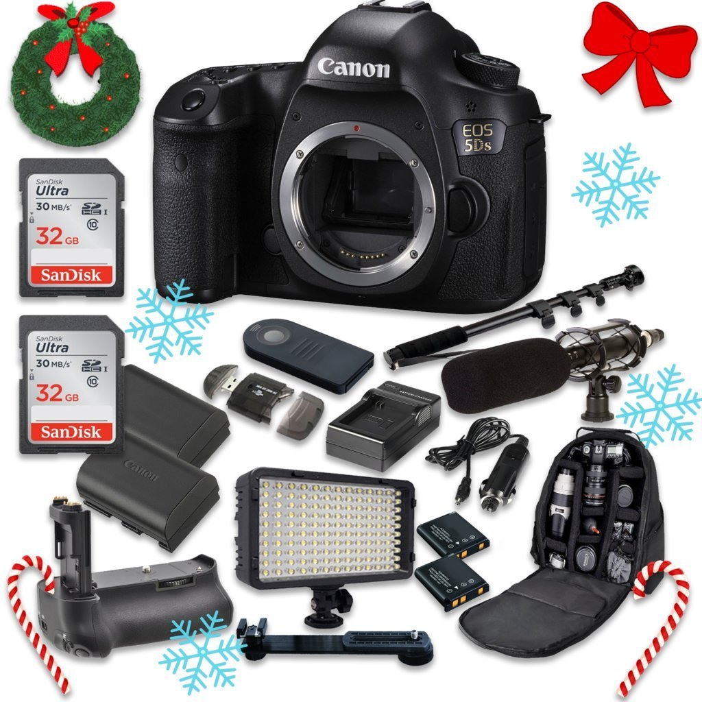 Canon EOS 5DS 50.6MP Full Frame CMOS Digital SLR DSLR Camera (Body Only) with 2pc SanDisk 32GB Memory Cards + Battery Power Grip + Special Promotional Holiday Accessory Bundle
