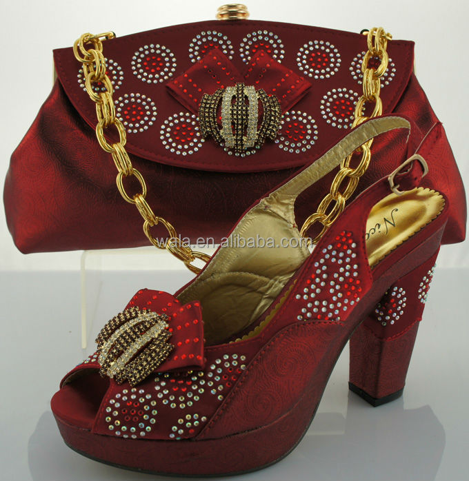 2014 wholesale italy style matching shoes and bag SB907-3 wine
