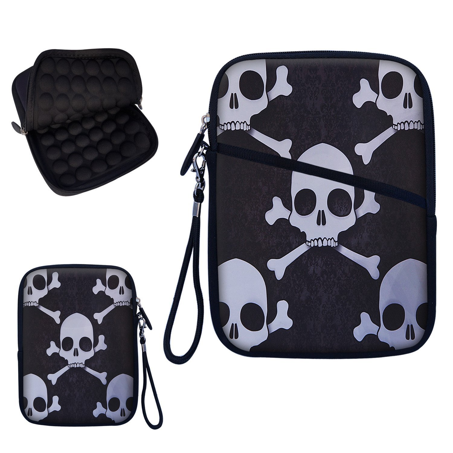 """Neoprene Super Padded Bubble Sleeve Case Cover with Removable Carrying Handle Fits Apple iPad Mini / Amazon Kindle Fire HD / Google Nexus 7 / Samsung Galaxy / Asus / Acer / Archos and Similar Size 7"""" Tablet - Dark Skull Design"""