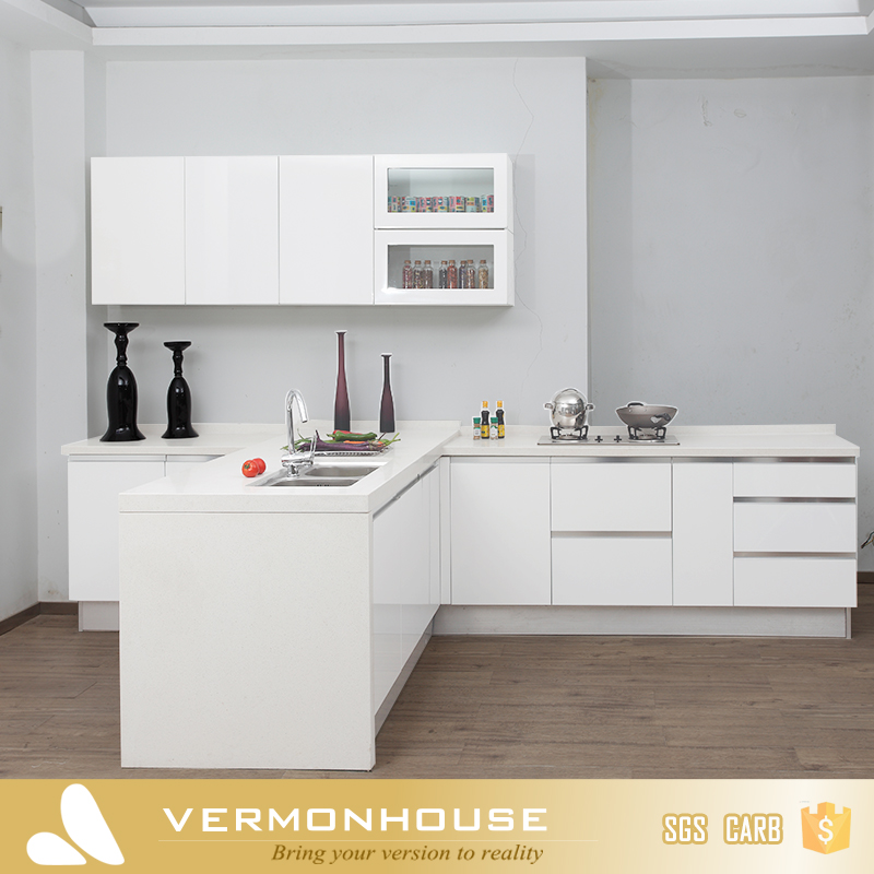 L Shaped Modern White Kichen Cabinets with Drawers
