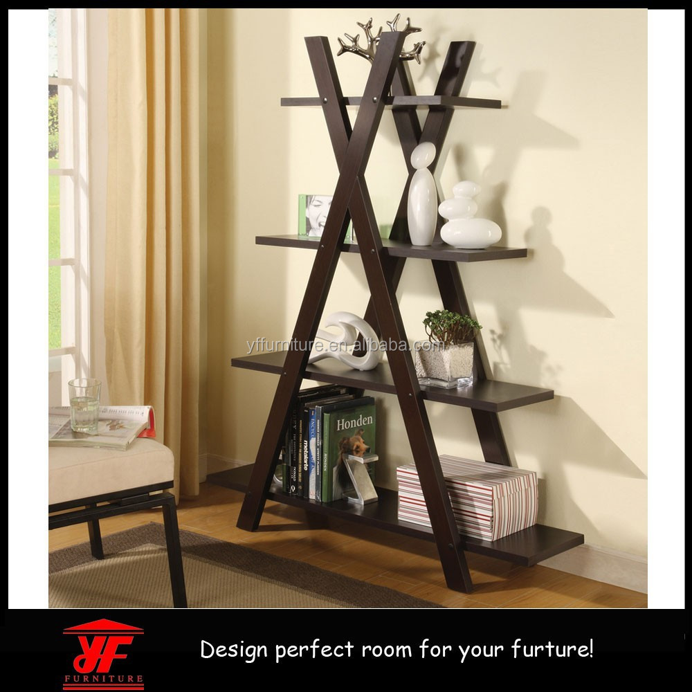 Factory Wholesale Good Quality Cheap Wooden Espresso Tree Type Book Shelf