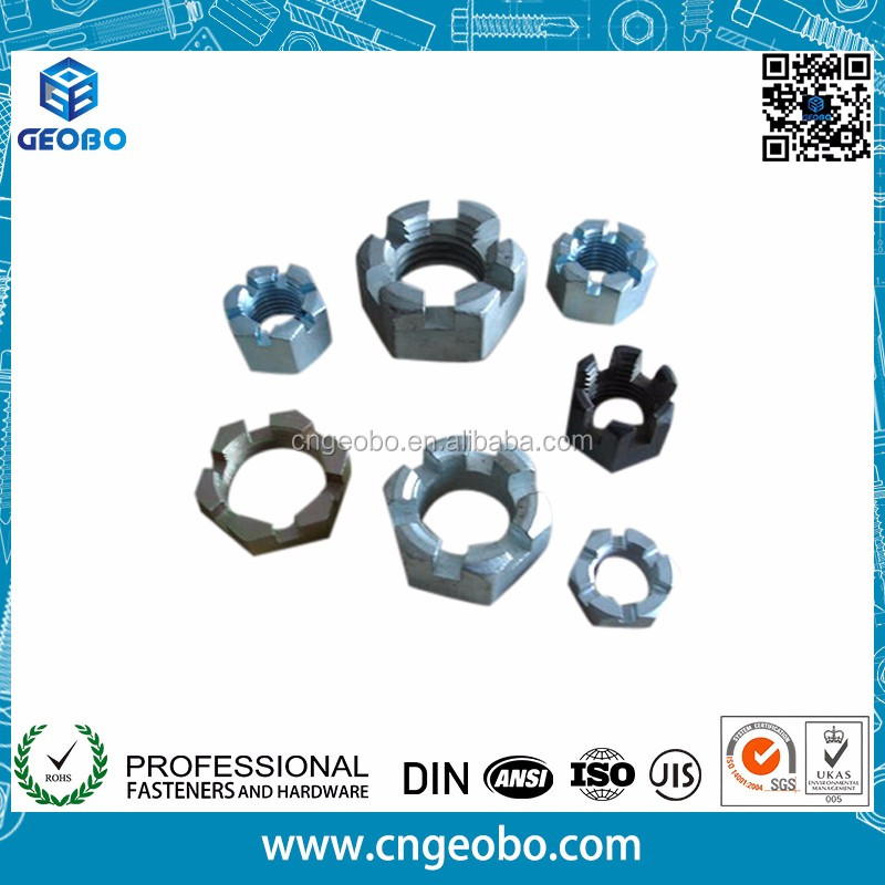 Chinese supplier DIN979 steel hexagon slotted nut