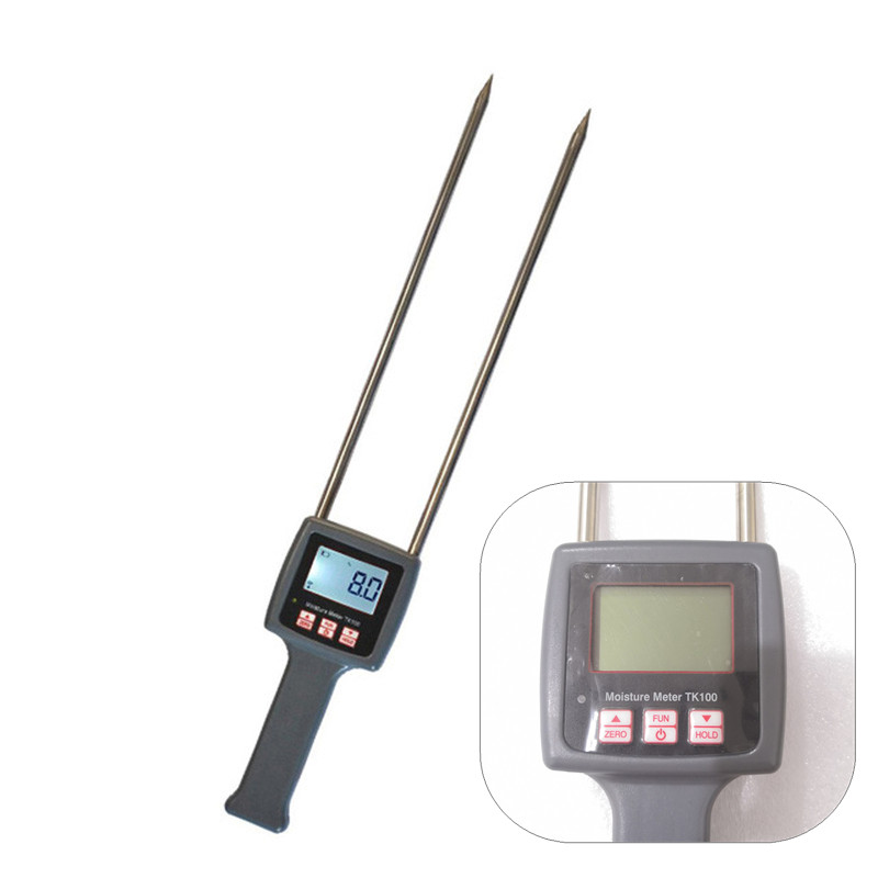 Portable TK100 Moisture Meter Digital Humidity Tester for grain,Herbs, grass, wheat bran, animal feed, fiber material testing
