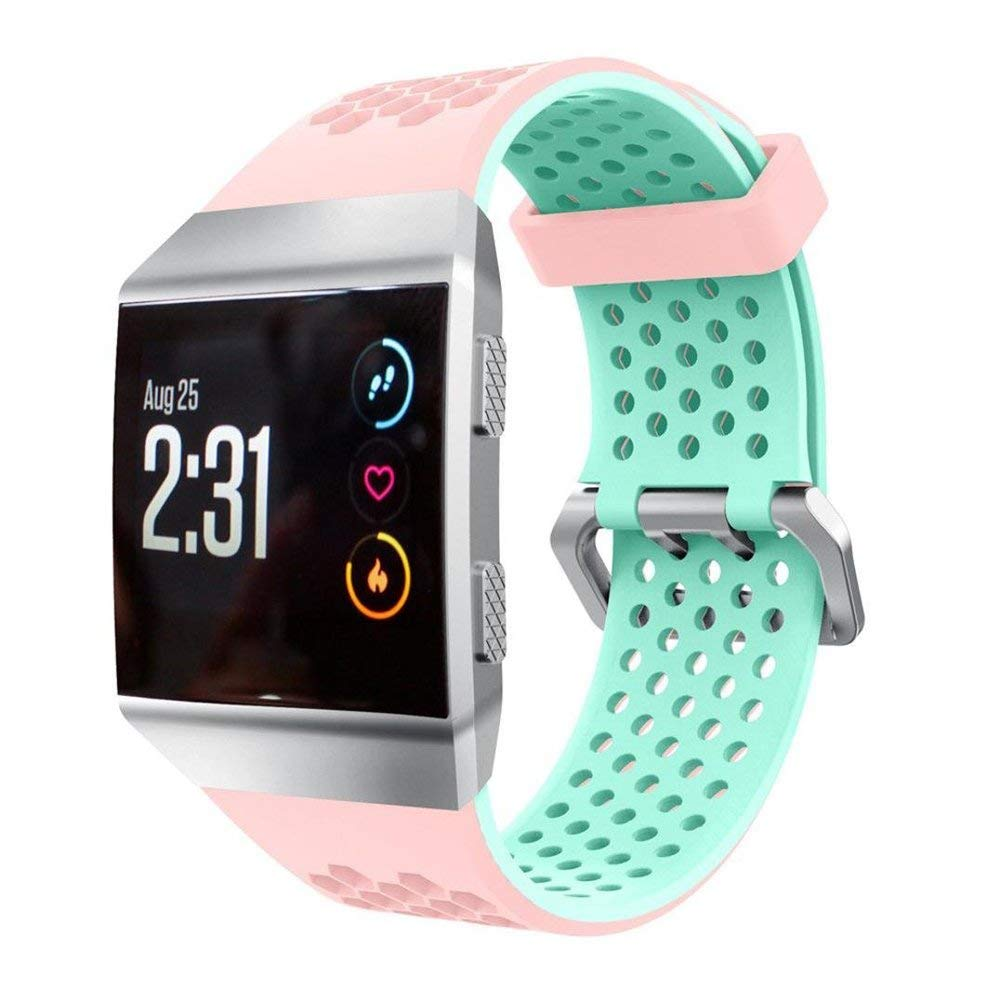 Teepao Replacement Band for Fitbit Ionic Soft Silicone Sport Bands Perforated Breathable Accessories Fitness Wristband Fashion Strap For Fitbit Ionic Smart Watch Bands Women Men