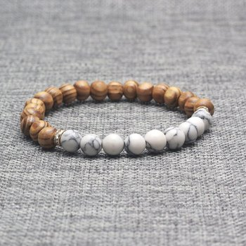 Fashionable Stone Wooden Beads Bracelet For Men Howlite Simple Gift Jewelry Making Wood Bamboo