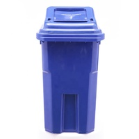 60L Innovative Recycle Movable Outdoor Garden Small Plastic Food Garbage Trash Dustbin Can With Lid Slid Wheel